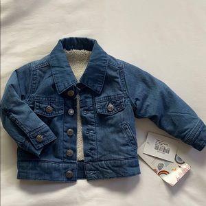Kickee pants denim jacket with Sherpa lining 6-12m